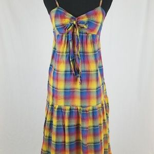 MD Rainbow Plaid Cotton Long Boho Retro Dress